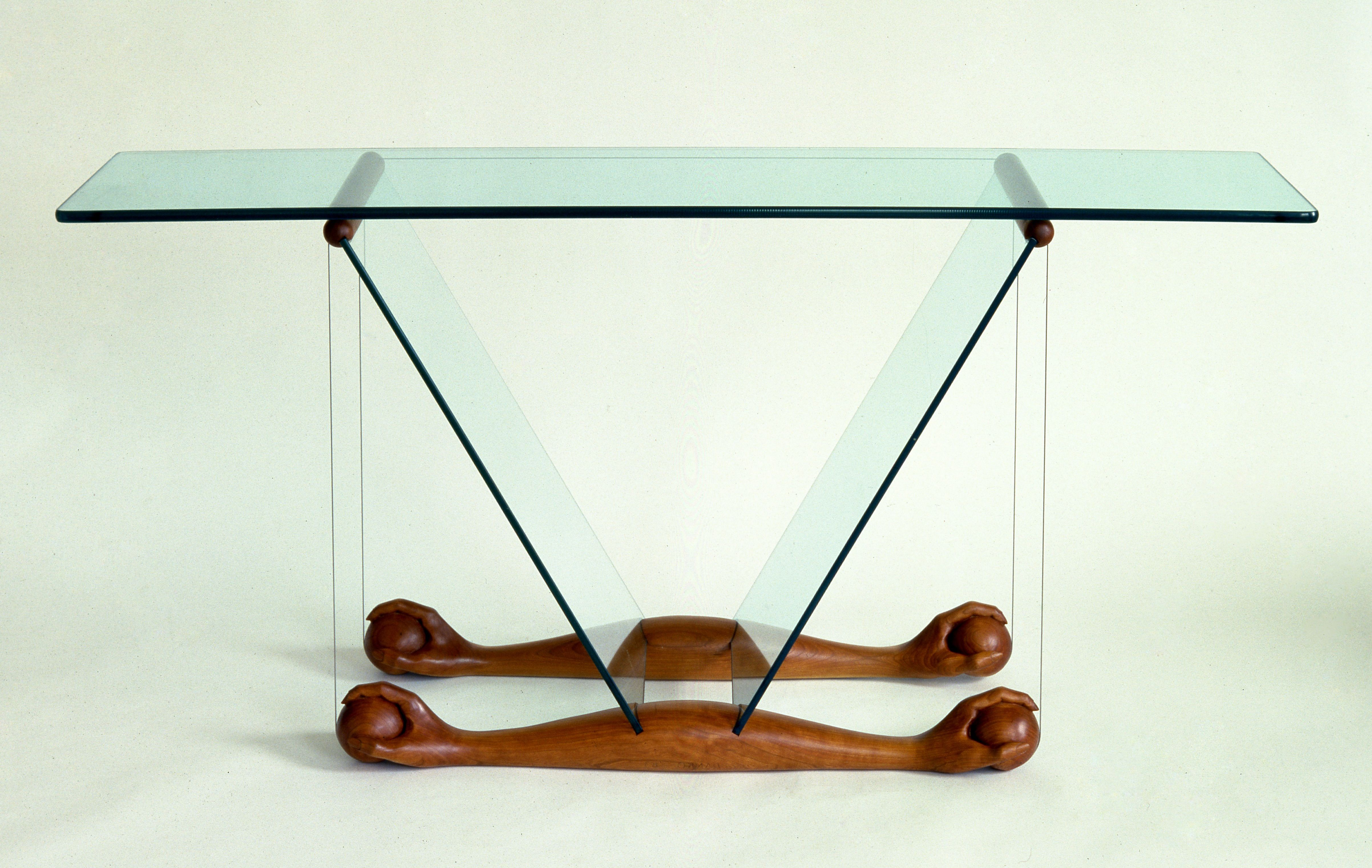 High Tech Chippendale table. Made from cherry wood, glass and ...