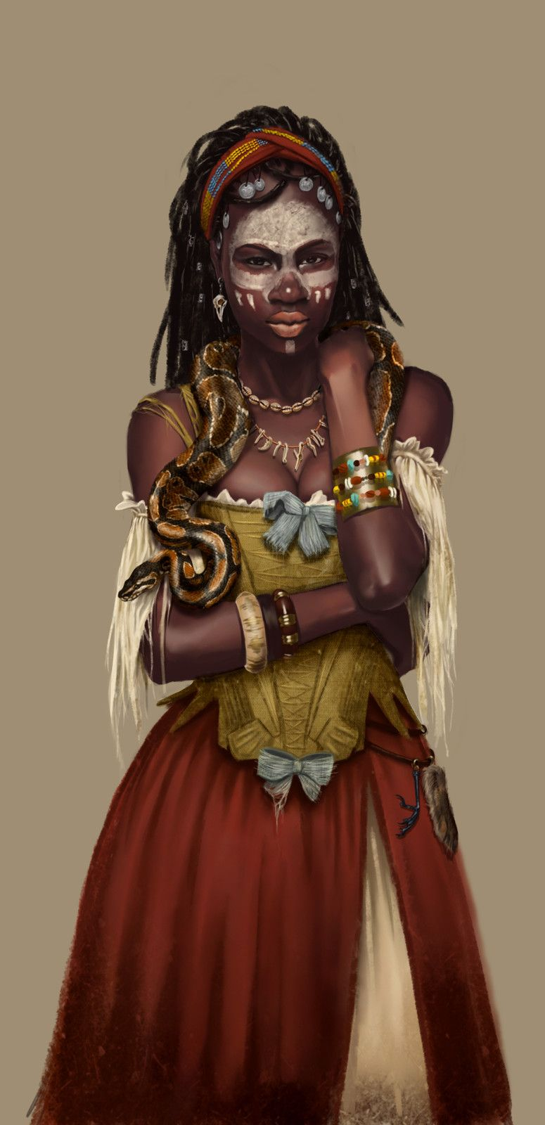 Pirate Voodoo queen Orma, Anne-Lise Loubière on ArtStation at https://www.artstation.com/artwork/EbDOv