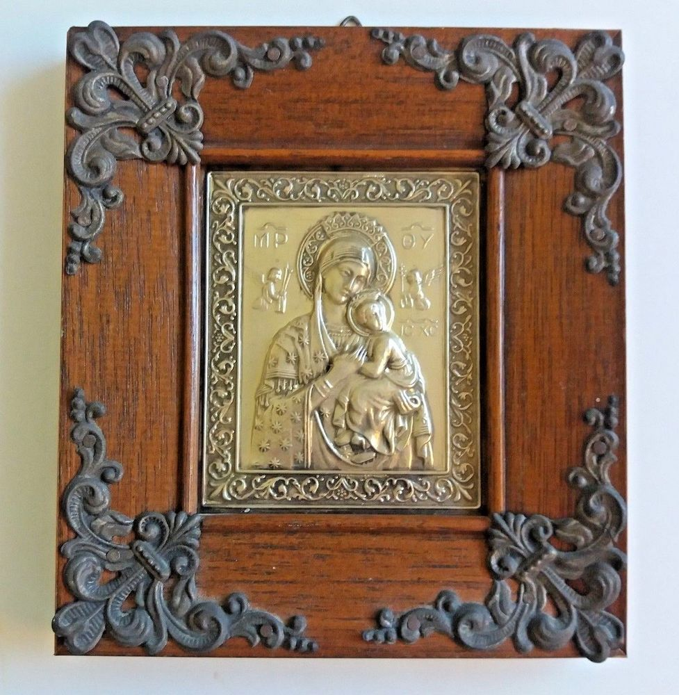 Vintage our lady of perpetual help greek icon ornate framed