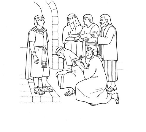 Joseph forgives his brothers: Coloring page for Sunbeams