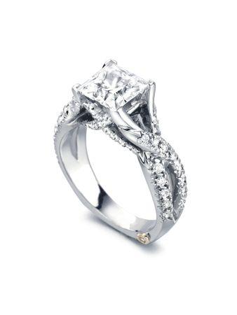 Princess Cut Criss Cross Engagement Ring By Markschneider