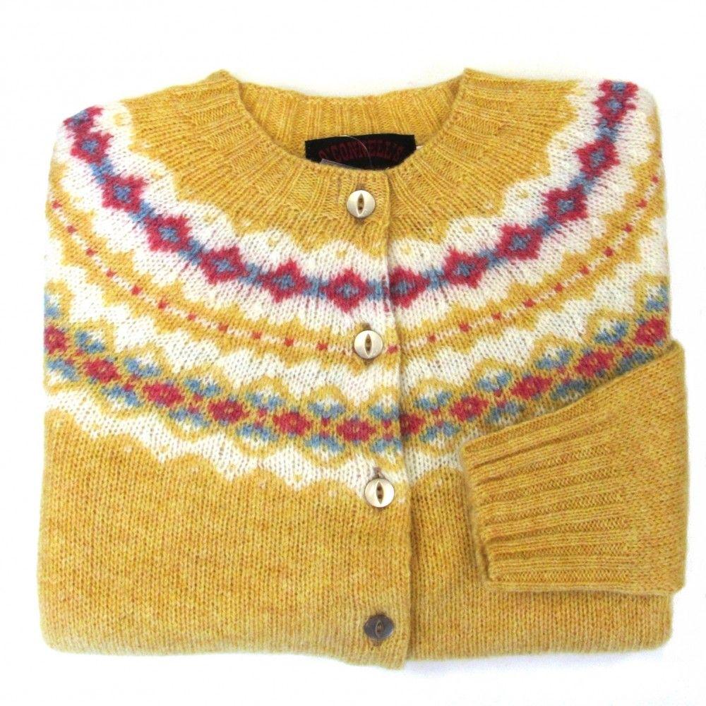 Women's Scottish Shetland Wool Fair Isle Cardigan Sweater - Curry ...