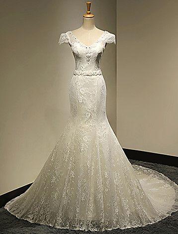 Sereia Em V Cauda Catedral Vestido de Noiva - BRL R$ 786,57