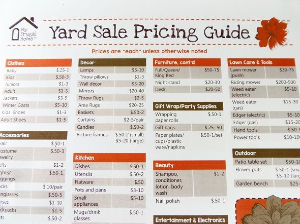 Printable Yard Sale Pricing Guide  Yard Sale Yards And Yard Sales