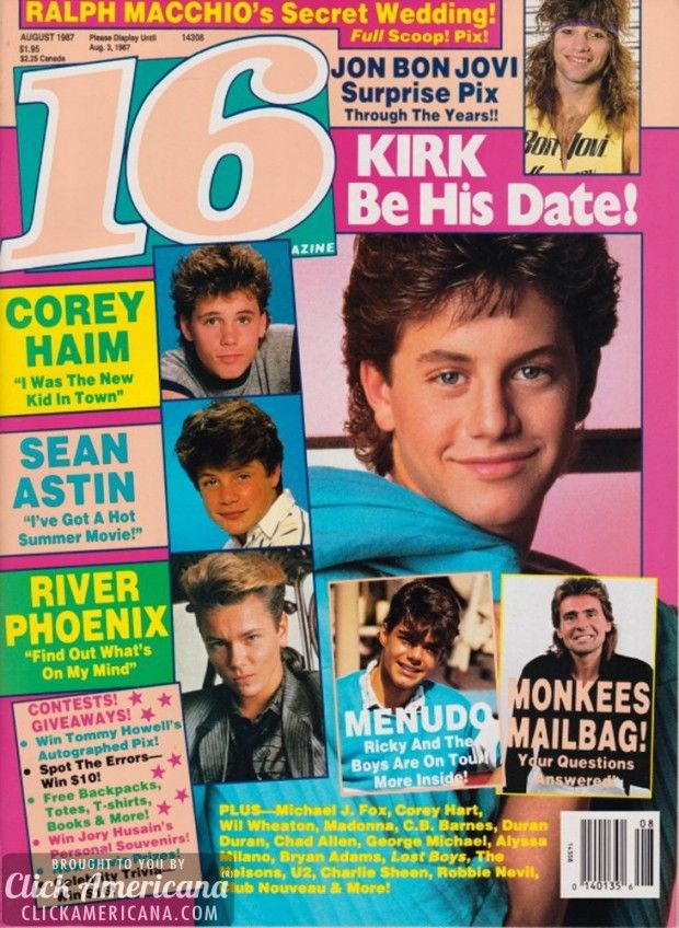 Sixteen Covers Of 16 Magazine From The 80s Sixteen Tiger Beat