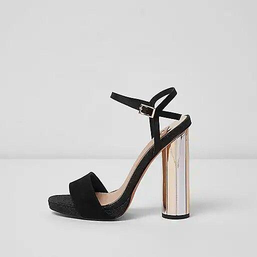 85350edb0ea River Island Black electroplated heel platform sandals