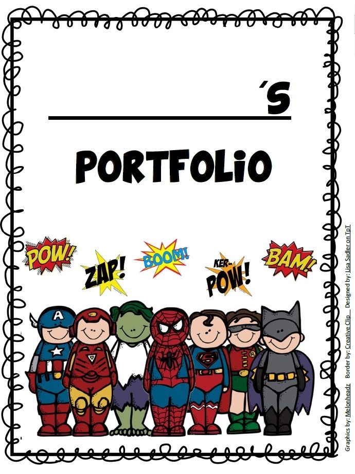 Super Kids Themed Binder, Portfolio and Folder Covers from