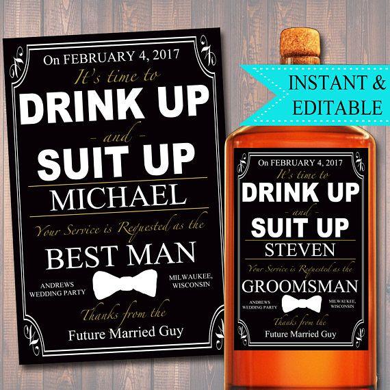 EDITABLE Groomsman, Best Man Ask Printable Whiskey Label