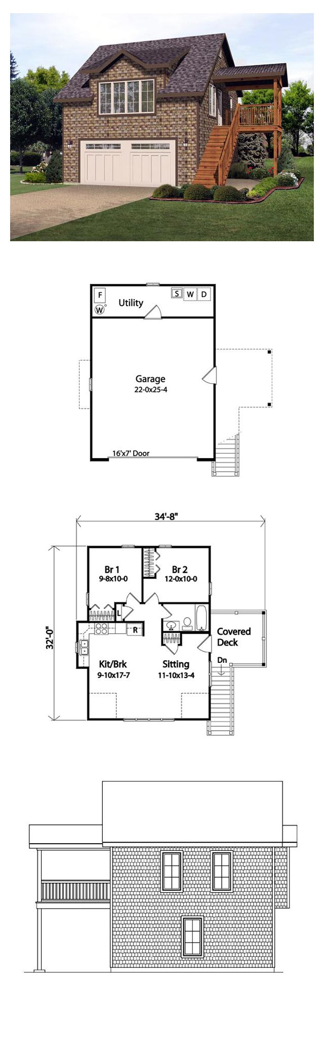 2 Car Garage Apartment Plan Number 45121 with 2 Bed, 1 Bath #garageplans