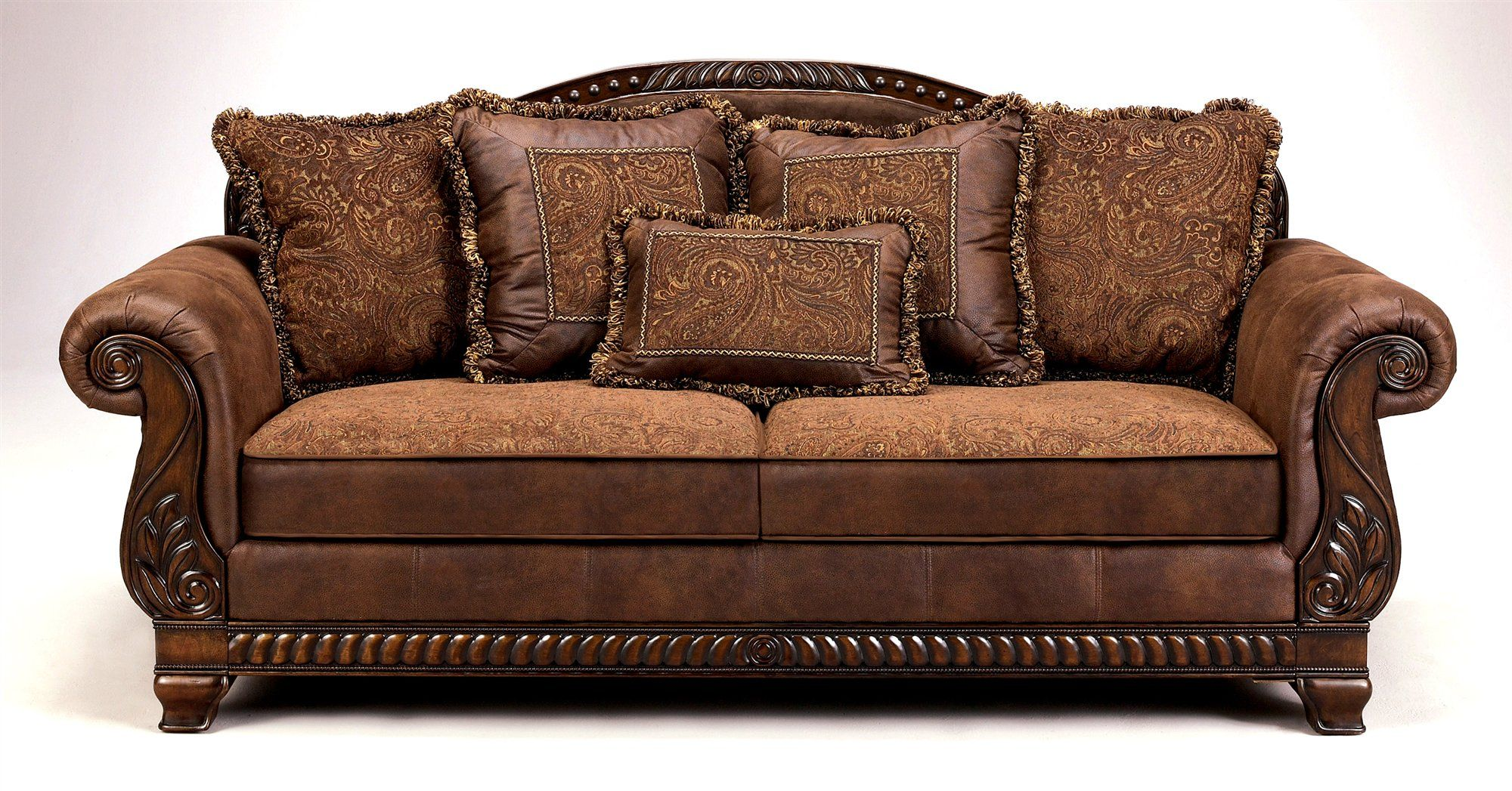 Buy Low Price ivgStores Furniture Faux Leather & Tapestry Sofa