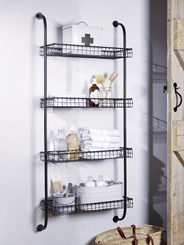 Industrial Style Metal Shelves Metal Shelves Small Bathroom