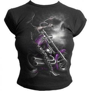 c9e328f1c43 T-shirt gothique femme moulant avec bikeuse sur moto
