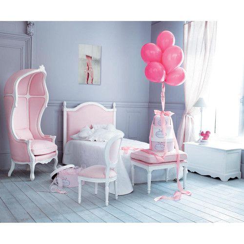 Tête de lit enfant en bois et tissu rose L 100 cm