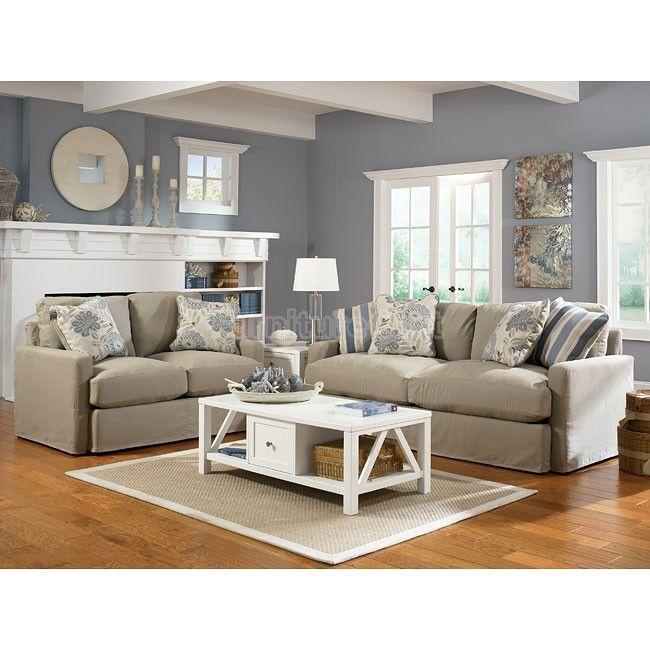Escape Gray Living Room: Addison - Khaki Living Room Set
