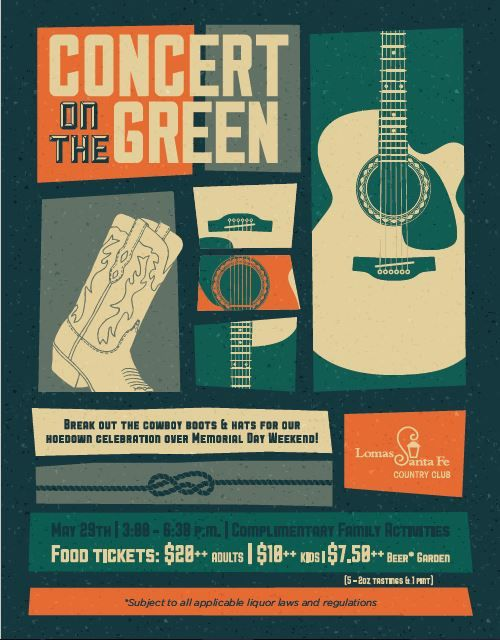 concert on the green event flyer poster template live music