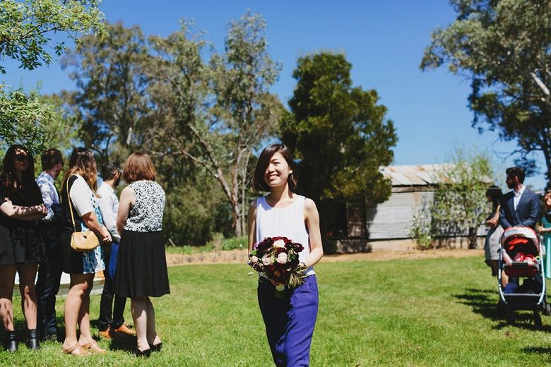 Bridesmaid in cobalt blue and white top | fabmood.com #bridesmaid #rusticwedding #factorywedding