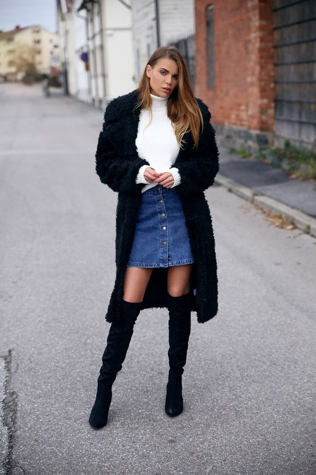 427ba9fa34a Over the Knee Boots + Long Black Coat + Denim A-Line Skirt + White Knit
