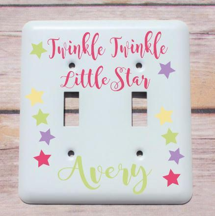 Personalized baby gift personalized nursery wall decor light items similar to personalized baby gift personalized nursery wall decor light switch cover custom switch plate twinkle twinkle little star negle Gallery