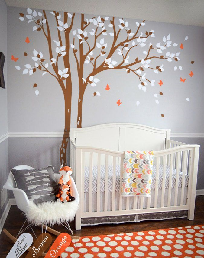 Huge tree wall decals brown and white tree wall decal ...