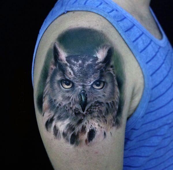 Tatuaże Ptaki Sowa Na Ramieniu Tattoos Tattoos Animals