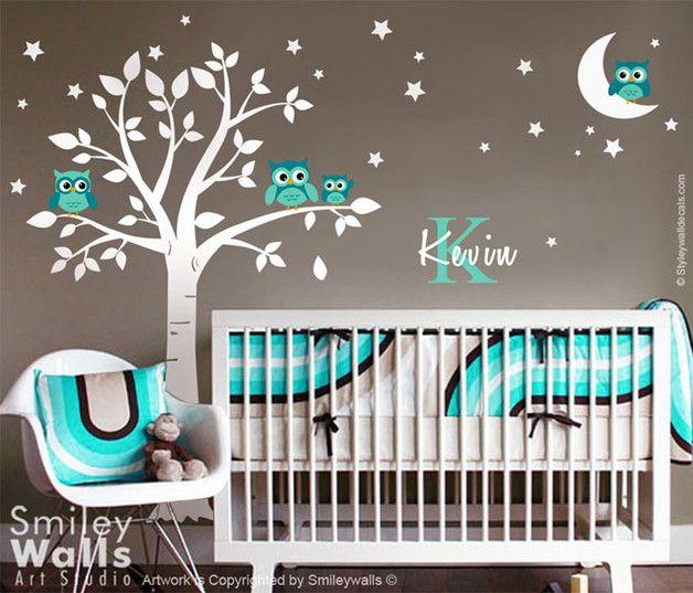 Eulen Baum Mit Mond Sterne Kinder Wandtattoo Kinder Zimmer