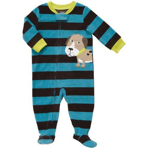 Carter S Boys Stripe Dog Fleece Footed Blanket 171 Clothing