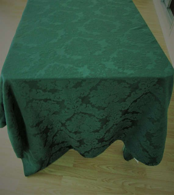 Lovely Banquet Tablecloth Green Damask Banquet Size Tablecloth