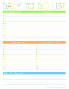 printable daily task list