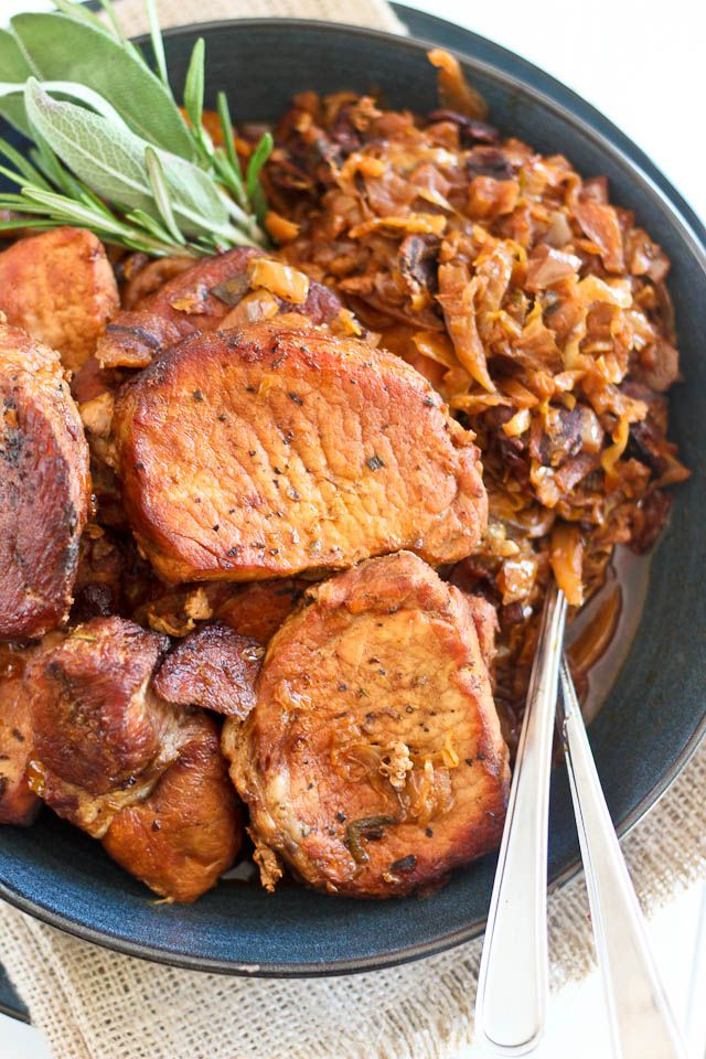 Pork Chops and Braised Bacon and Apple Cabbage #glutenfree #paleo
