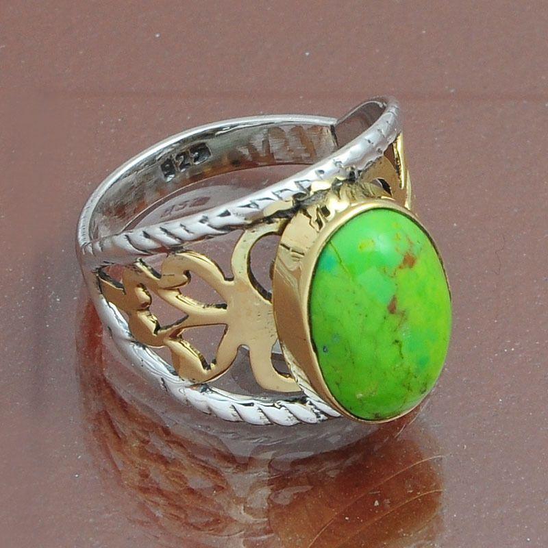 MOHAVE GREEN TURQUOISE 925 STERLING SILVER IMAGINE RING 4.75g DJR4028 #Handmade #Ring