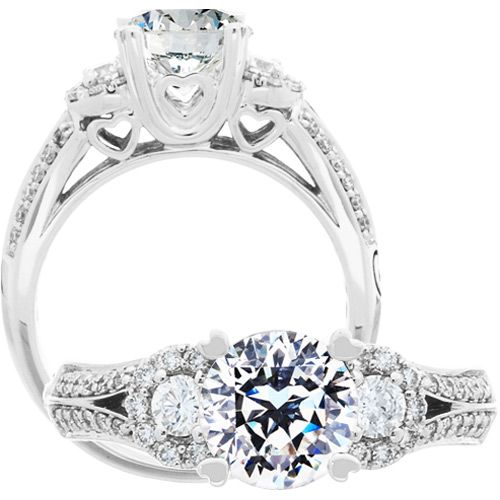 1 Carat Pristine Hearts Center Diamond Ring Carat Total Weight 1.44 $16,950.00 #dreamproposal