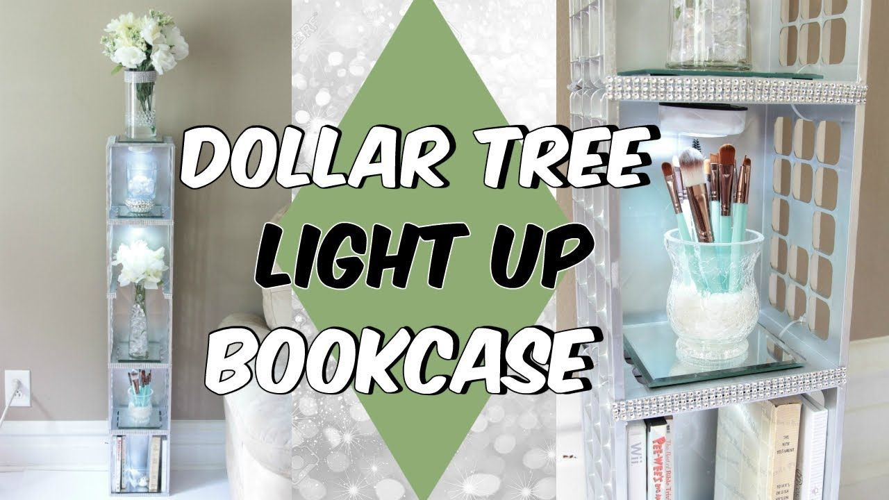 DOLLAR TREE LIGHT UP BOOKCASE D.I.Y TUTORIAL - YouTube | Diy dollar tree  decor, Bookcase diy, Dollar tree decor