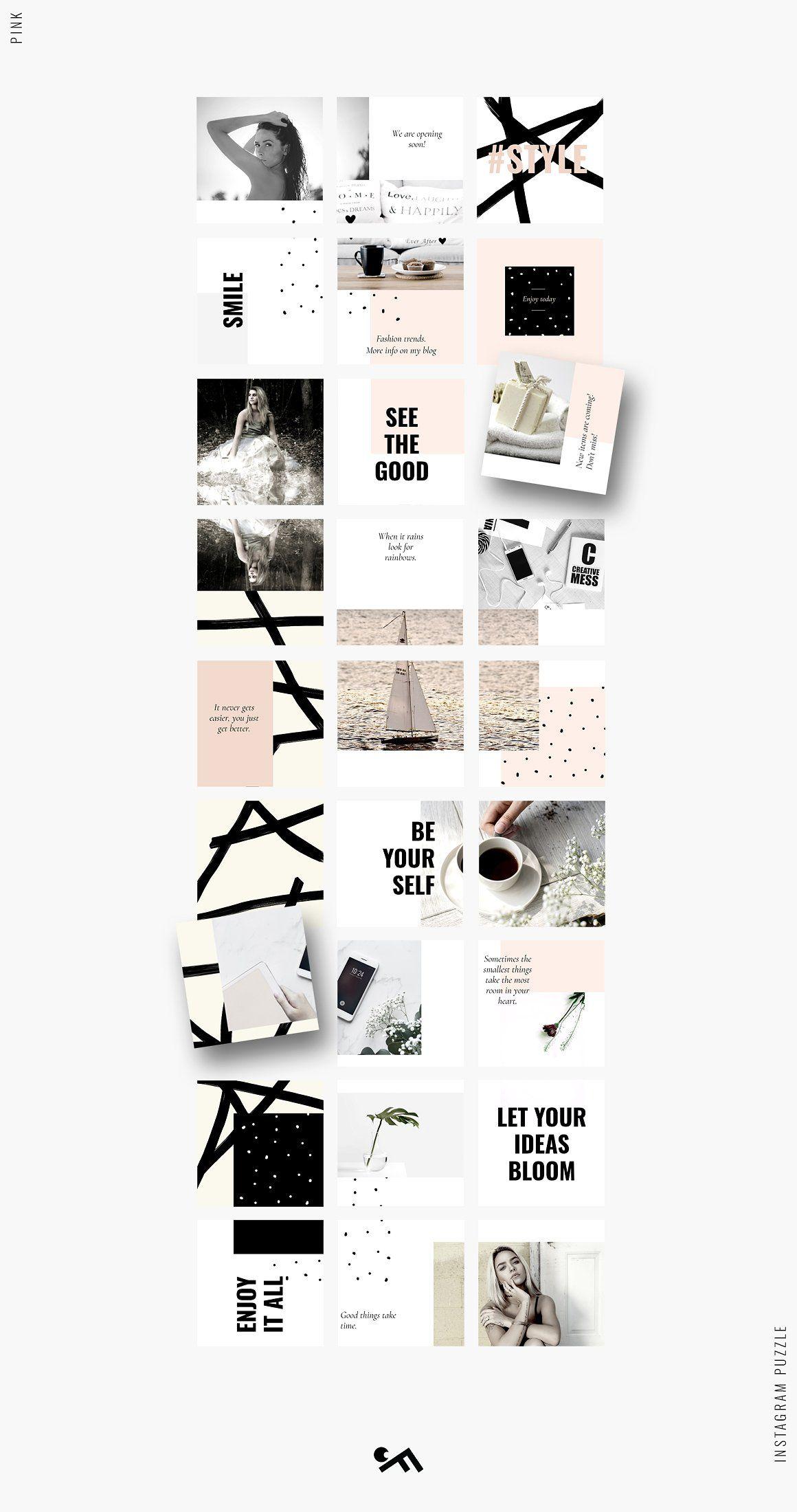 Instagram PUZZLE template Pink Журнальные макеты