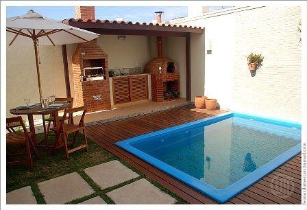 Decoração para quintal pequeno com piscina Piscinas, Fibra y Pequeños