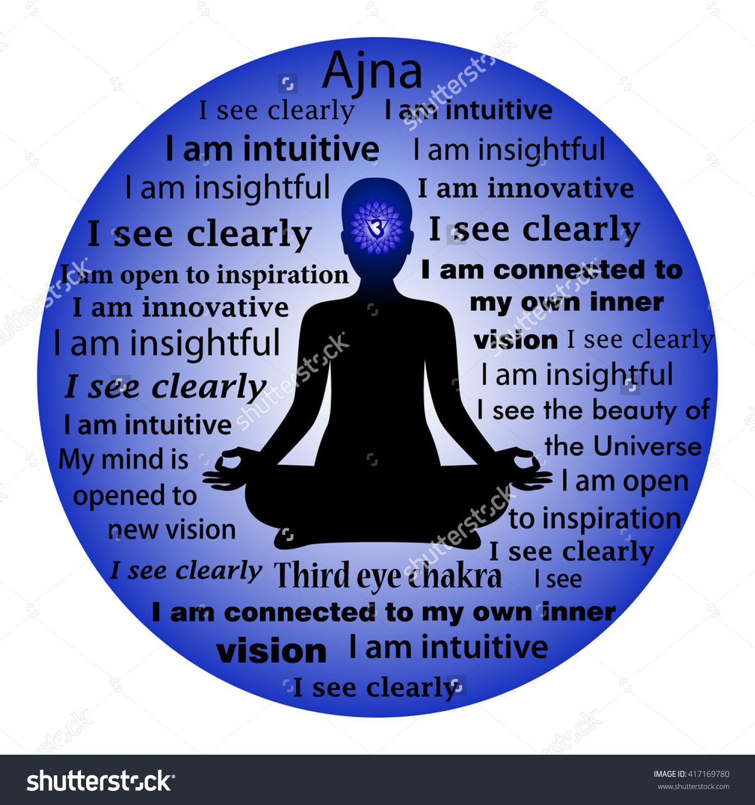 Meditating Woman Ajna Chakra Affirmation Stock Vector Illustration