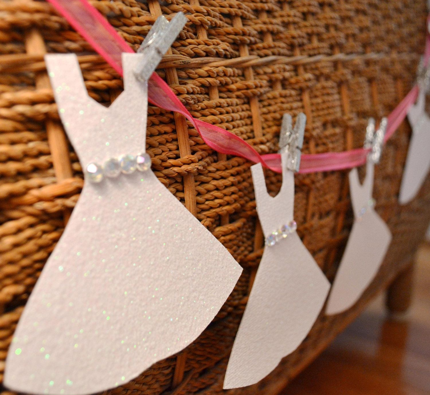 mini wedding dress garland paper bridal shower decoration pink glitter with clothespins
