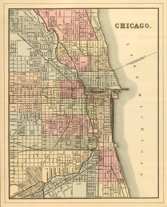 Chicago map   Old map of Chicago print   Vintage Chicago map