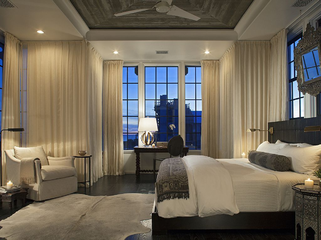 Master bedroom grey and white  Alys Beach House Tour  Beach Bedrooms and House