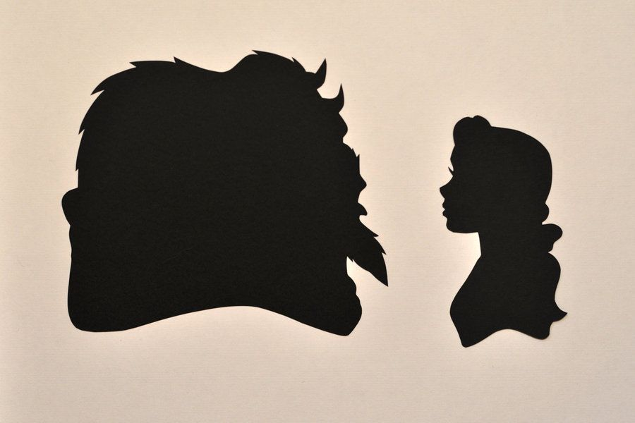 Beauty and the Beast - Hand-cut from cardstock.