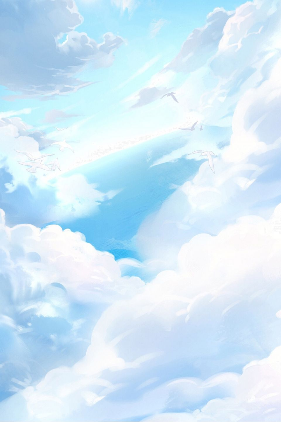 Cartoon Blue Sky White Clouds Download Sky Anime Blue Sky Wallpaper Blue Sky Background Aesthetic clouds white wallpaper