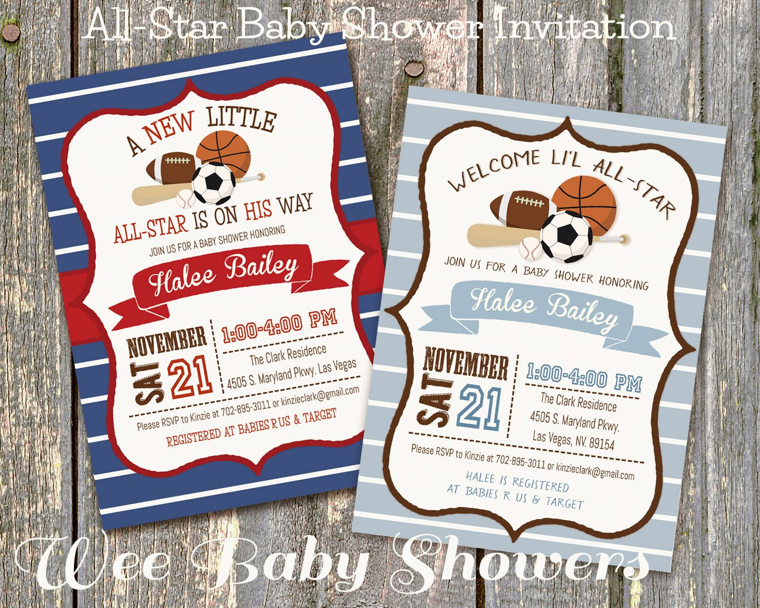 Sports Baby Shower Invitation, Little All-Star Baby Shower by WeeBabyShower on Etsy https://www.etsy.com/listing/264150261/sports-baby-shower-invitation-little-all