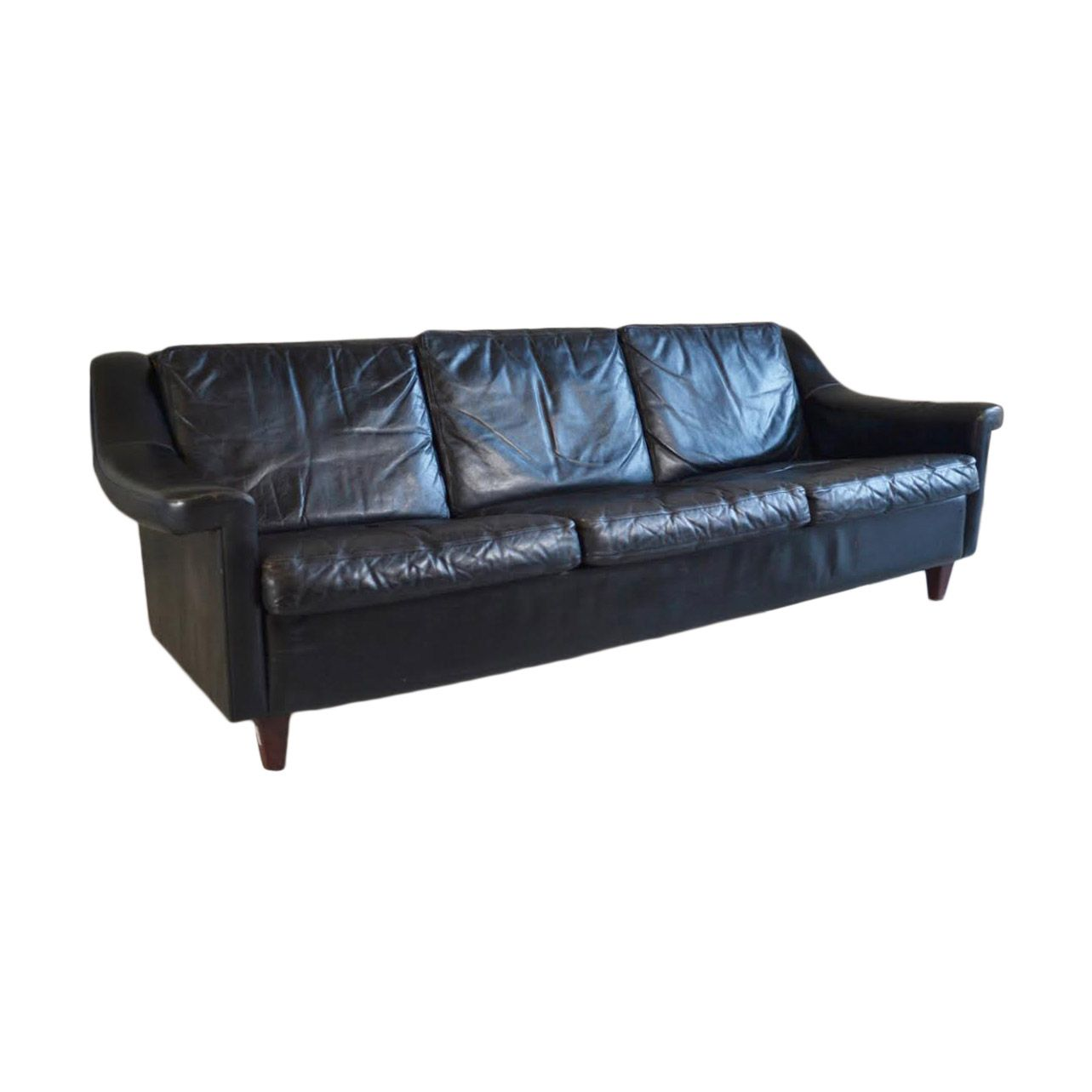 Danish Mid Century 3 Seater Black Leather Sofa with Teak ...