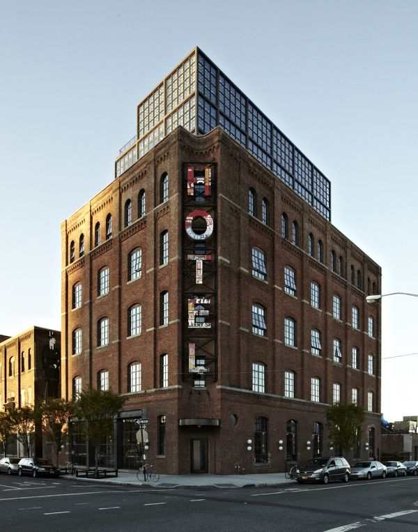 Built in 1901, this former textile factory located on the waterfront in Williamsburg, Brooklyn was recently transformed into an upscale 72-room hotel. It opened as the Wythe Hotel on May 1, 2012.