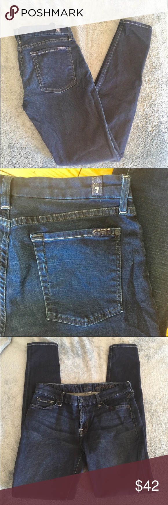 """7 for All Mankind The Skinny dark wash medium rise 7 for All Mankind The Skinny dark wash medium rise jeans. Dark wash soft cotton and stretch skinny jeans. Mid rise. Made in the USA.  EUC size 29.  Approximate measurements 29"""" waist, 31"""" inseam, 39"""" length, 5"""" leg opening. 8"""" front rise. 7 For All Mankind Jeans Skinny"""