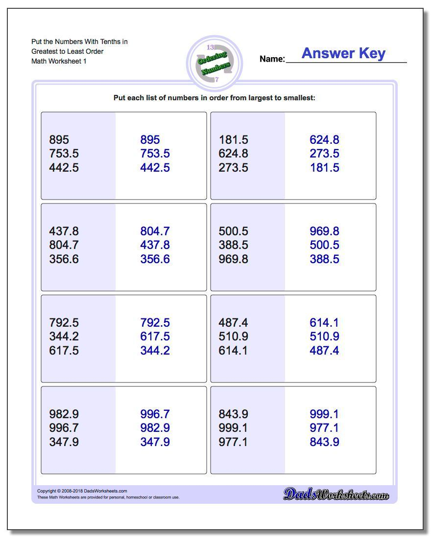 Practice ordering numbers worksheets for with multiple numbers in ascending  (greatest to least) and desc…   Number worksheets [ 1100 x 880 Pixel ]