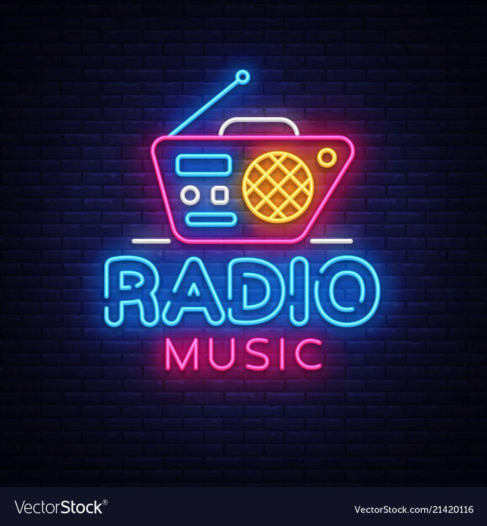 Radio music neon logo radio night neon vector image on in