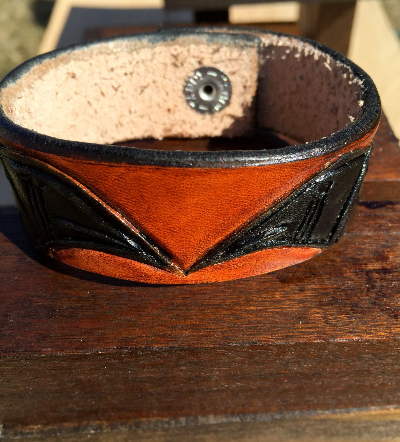 Acorn Brown Vegetable Tanned Cowhide Bracelet, Genuine Leather Cuff Bracelet,  Mens Leather Cuff Bracelet, Viking Design Genuine Leather Cuff