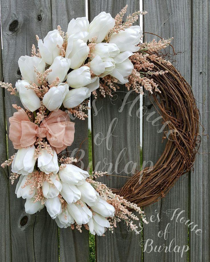 Photo of Spring wreath, rustic wreath, floral wreath, tulip wreath, mother's day wreath, summer wreath, front door wreath, grapevine wreath