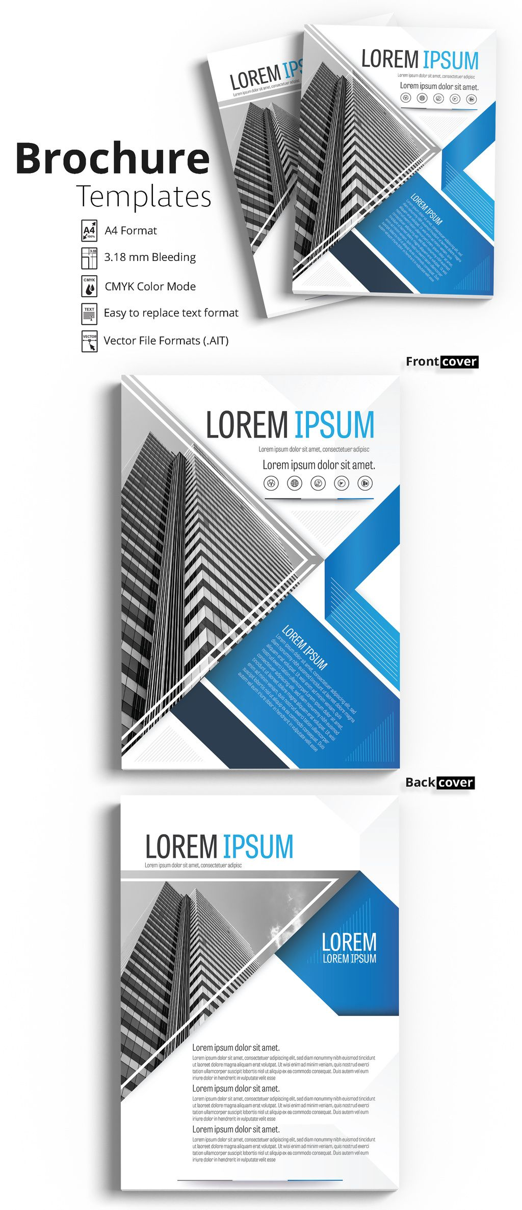 Brochure Cover Layout With Blue And Gray Accents   Image  Adobe