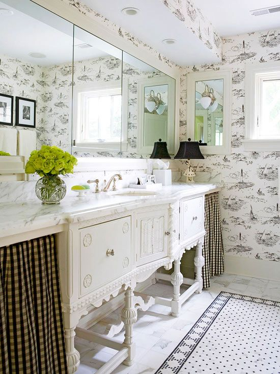 The converted sideboard into a vanity gives this bath a ...